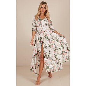 SHOWPO White Floral High Slit Maxi Dress Size 8